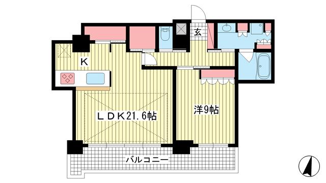 物件番号: 1025862265 ライオンズタワー神戸元町  神戸市中央区栄町通3丁目 1SLDK マンション 間取り図