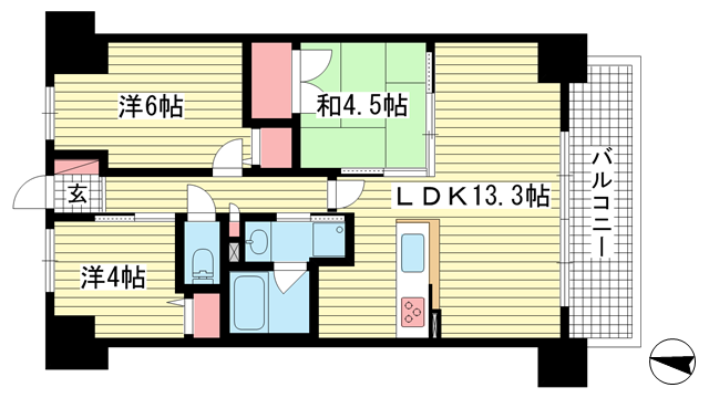 物件番号: 1025862420 リベールKOBE兵庫ジェネックス  神戸市兵庫区松原通5丁目 3LDK マンション 間取り図