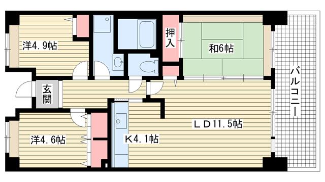 物件番号: 1025862549 ☆HAT神戸・脇の浜17番館(UR)  神戸市中央区脇浜海岸通3丁目 3LDK マンション 間取り図