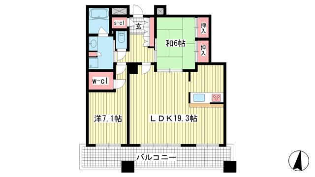 物件番号: 1025862552 D'グラフォート神戸三宮タワー  神戸市中央区八幡通4丁目 2LDK マンション 間取り図