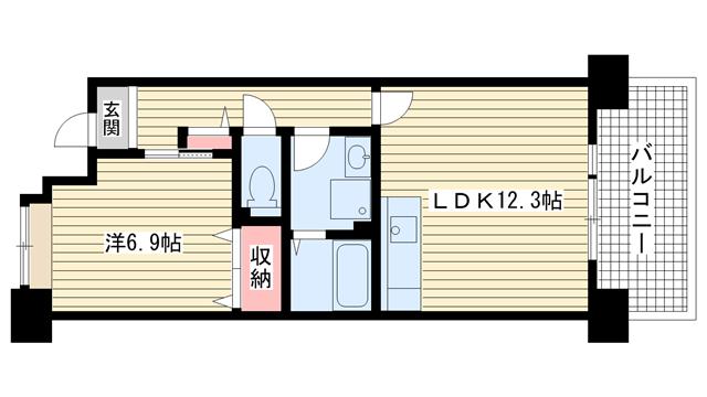 物件番号: 1025862577 ☆HAT神戸・脇の浜16番館(UR)  神戸市中央区脇浜海岸通3丁目 1LDK マンション 間取り図