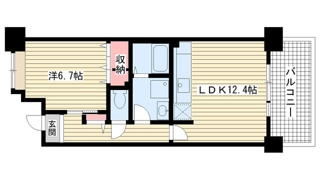 物件番号: 1025862578 ☆HAT神戸・脇の浜4番館(UR)  神戸市中央区脇浜海岸通3丁目 1LDK マンション 間取り図