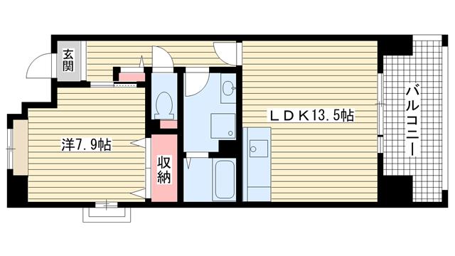 物件番号: 1025862584 ☆HAT神戸・脇の浜16番館(UR)  神戸市中央区脇浜海岸通3丁目 1LDK マンション 間取り図