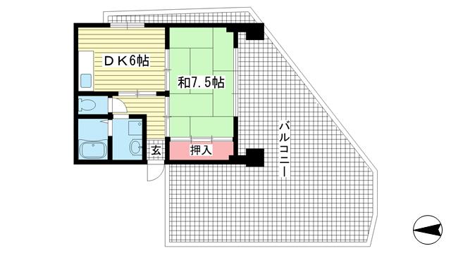 物件番号: 1025862591 ニュージョイハイツ  神戸市中央区二宮町4丁目 1DK マンション 間取り図