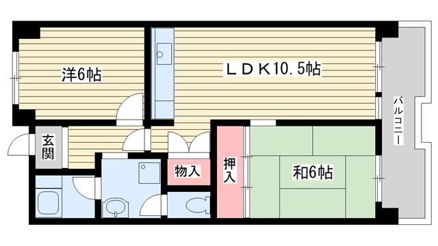 物件番号: 1025862595 ☆ポートアイランド55号棟(UR)  神戸市中央区港島中町3丁目 2LDK マンション 間取り図