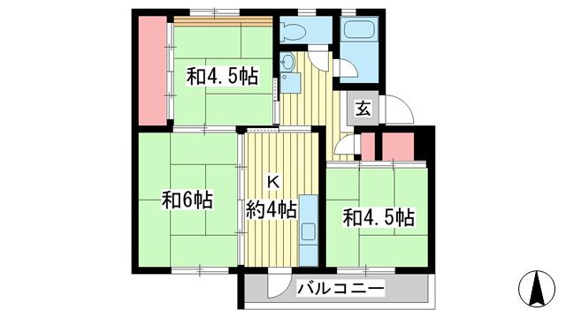 物件番号: 1025862630 ☆鈴蘭台第二 12号棟(UR)  神戸市北区南五葉2丁目 3K マンション 間取り図