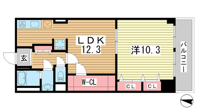 物件番号: 1025862723 シャトー・ド・フェニックス  神戸市中央区二宮町3丁目 1LDK マンション 間取り図