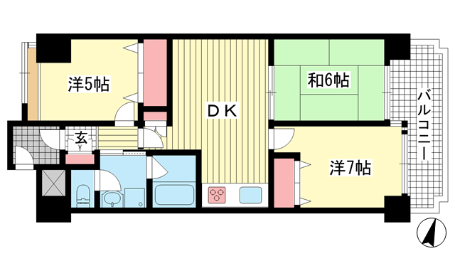 物件番号: 1025862999 ライオンズマンション灘南  神戸市灘区岩屋北町5丁目 3DK マンション 間取り図