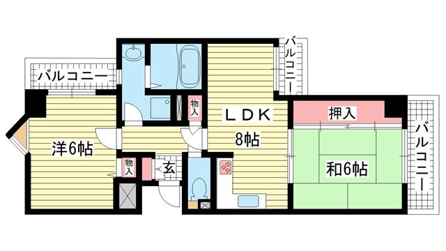 物件番号: 1025863026 ライオンズマンション神戸西元町第2  神戸市中央区北長狭通7丁目 2LDK マンション 間取り図