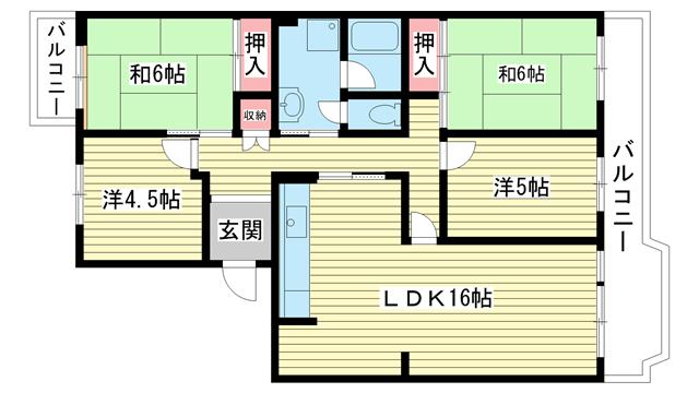 物件番号: 1025863074 ☆名谷公園前 362号棟(UR)  神戸市須磨区北落合3丁目 4LDK マンション 間取り図