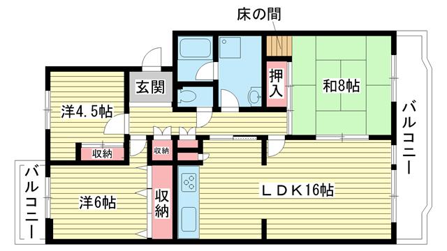 物件番号: 1025863081 ☆名谷公園前 368号棟(UR)  神戸市須磨区北落合3丁目 3LDK マンション 間取り図