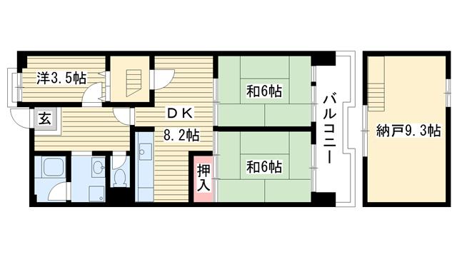 物件番号: 1025863092 ☆ポートアイランド59号棟(UR)  神戸市中央区港島中町3丁目 3SDK マンション 間取り図