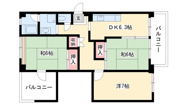 物件番号: 1025863315 ☆ポートアイランド63号棟(UR)  神戸市中央区港島中町3丁目 3DK マンション 間取り図