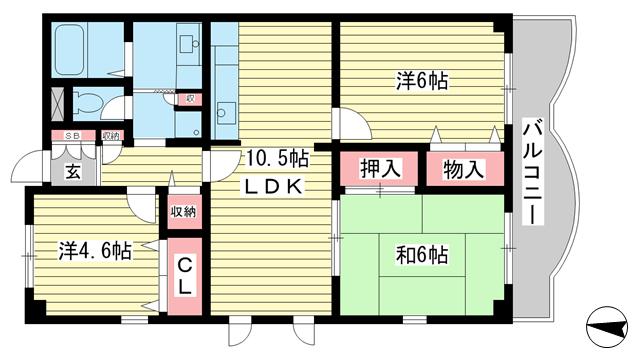 物件番号: 1025863326 ハイムあじさい  神戸市中央区熊内橋通6丁目 3LDK マンション 間取り図