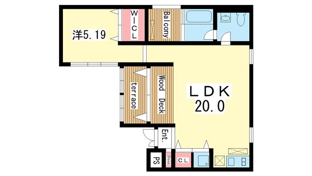 物件番号: 1025863366 terrace g  神戸市中央区下山手通8丁目 1LDK マンション 間取り図