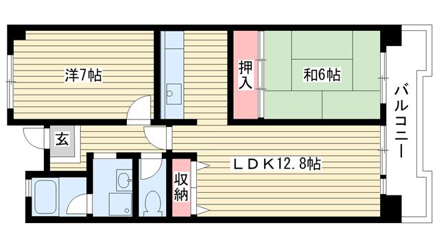 物件番号: 1025863471 ☆ポートアイランド51号棟(UR)  神戸市中央区港島中町3丁目 2LDK マンション 間取り図