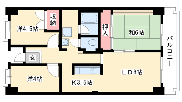 物件番号: 1025863472 ☆ポートアイランド52号棟(UR)  神戸市中央区港島中町3丁目 3LDK マンション 間取り図