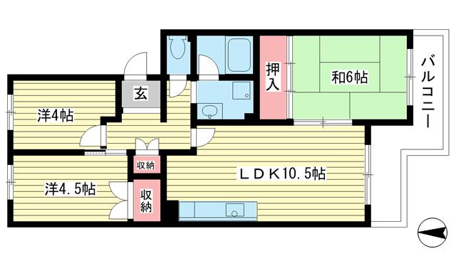 物件番号: 1025863504 ☆落合第二 512号棟(UR)  神戸市須磨区南落合2丁目 3LDK マンション 間取り図