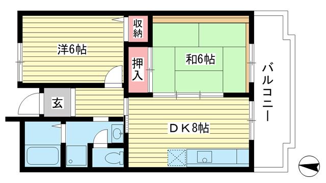 物件番号: 1025863509 ☆アクティ学園西町745号棟(UR)  神戸市西区学園西町7丁目 2DK マンション 間取り図
