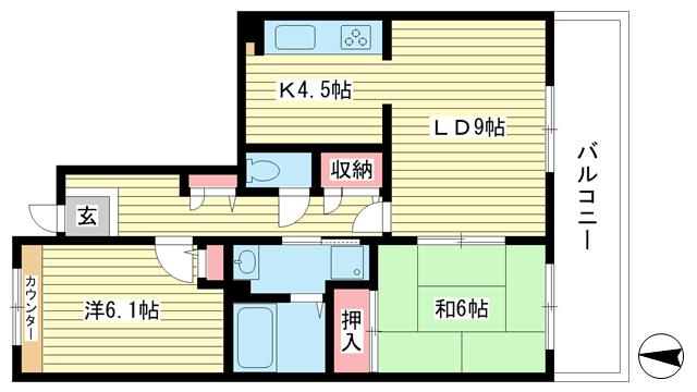 物件番号: 1025863513 ☆ルゼフィール井吹台4号棟(UR)  神戸市西区井吹台西町2丁目 2LDK マンション 間取り図