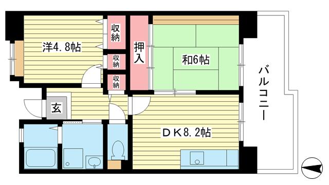 物件番号: 1025863515 ☆ルゼフィール名谷東 422号棟(UR)  神戸市須磨区中落合1丁目 2DK マンション 間取り図