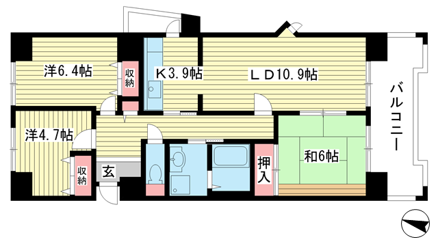 物件番号: 1025863516 ☆ルゼフィール名谷東 422号棟(UR)  神戸市須磨区中落合1丁目 3LDK マンション 間取り図