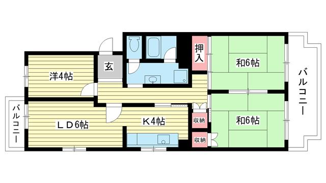 物件番号: 1025863519 ☆落合第三 404号棟(UR)  神戸市須磨区中落合1丁目 3DK マンション 間取り図