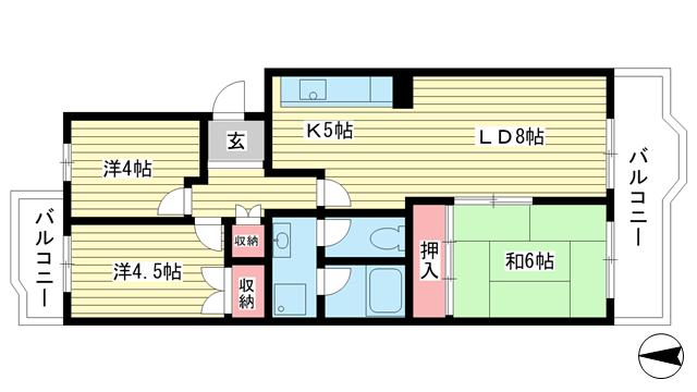 物件番号: 1025863521 ☆落合第三 409号棟(UR)  神戸市須磨区中落合1丁目 3LDK マンション 間取り図