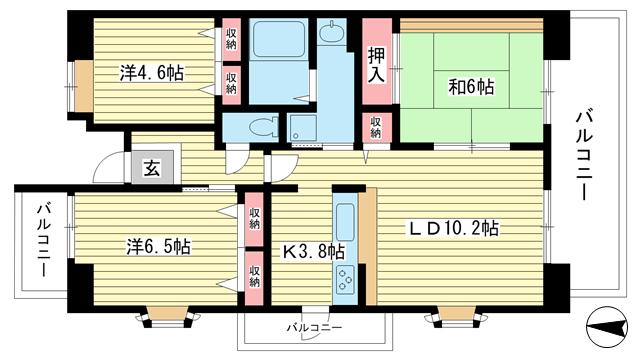物件番号: 1025863528 ☆ルゼフィール井吹台2号棟(UR)  神戸市西区井吹台西町2丁目 3LDK マンション 間取り図
