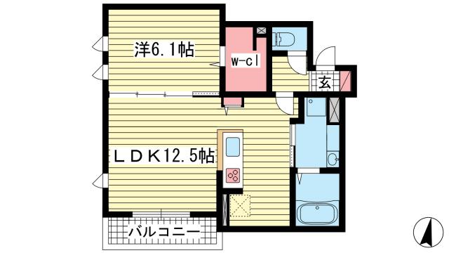 物件番号: 1025863531 KITANO COLN  神戸市中央区山本通2丁目 1LDK マンション 間取り図