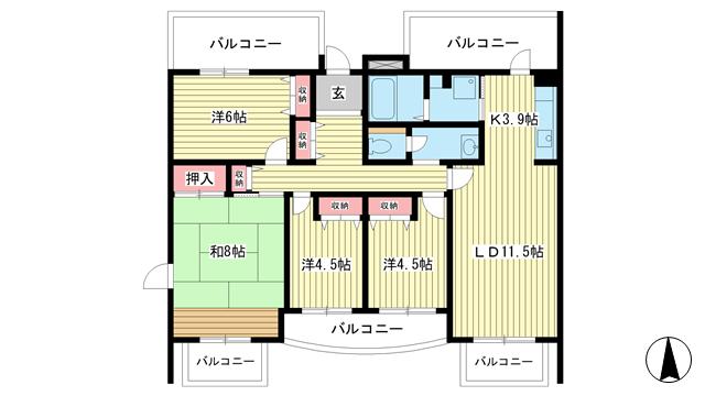 物件番号: 1025863535 ☆アクティ学園西町747号棟(UR)  神戸市西区学園西町7丁目 4LDK マンション 間取り図