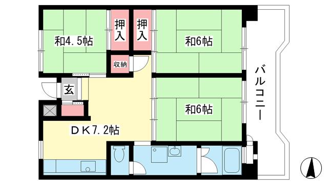 物件番号: 1025863540 ☆名谷駅前 440号棟(UR)  神戸市須磨区中落合3丁目 3DK マンション 間取り図