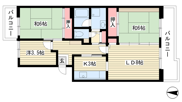 物件番号: 1025863541 ☆横尾 3号棟(UR)  神戸市須磨区横尾9丁目 3LDK マンション 間取り図