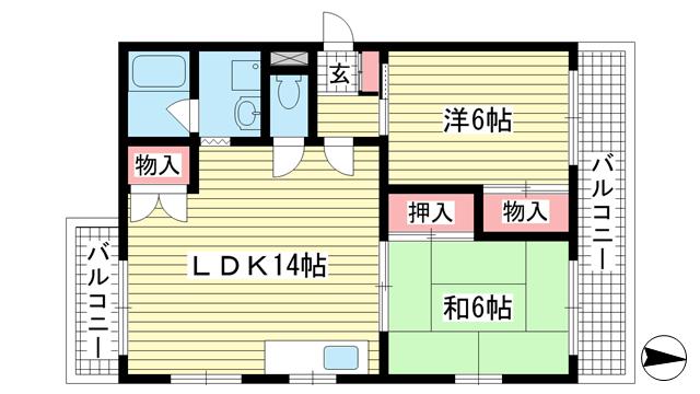 物件番号: 1025863603 グリーンハイツキシモト  神戸市中央区山本通4丁目 2LDK マンション 間取り図