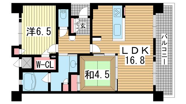 物件番号: 1025863746 KAISEI神戸海岸通第2  神戸市中央区海岸通2丁目 2LDK マンション 間取り図
