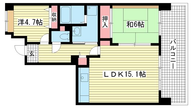 物件番号: 1025863947 ☆HAT神戸・脇の浜5番館(UR)  神戸市中央区脇浜海岸通3丁目 2LDK マンション 間取り図