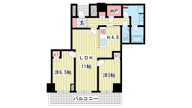 物件番号: 1025864068 ザ・パークハウス神戸ハーバーランドタワー  神戸市中央区東川崎町1丁目 2LDK マンション 間取り図