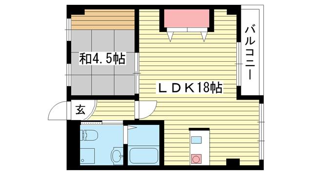 物件番号: 1025864156 上春日野ハイツ  神戸市中央区神仙寺通4丁目 1LDK マンション 間取り図
