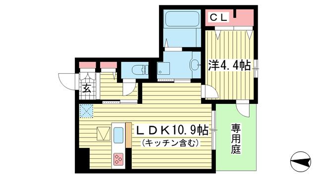 物件番号: 1025864264 テラコート北野坂  神戸市中央区北野町1丁目 1LDK マンション 間取り図