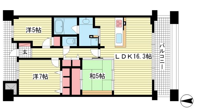 物件番号: 1025864408 ベリスタ神戸旧居留地  神戸市中央区海岸通 3SLDK マンション 間取り図