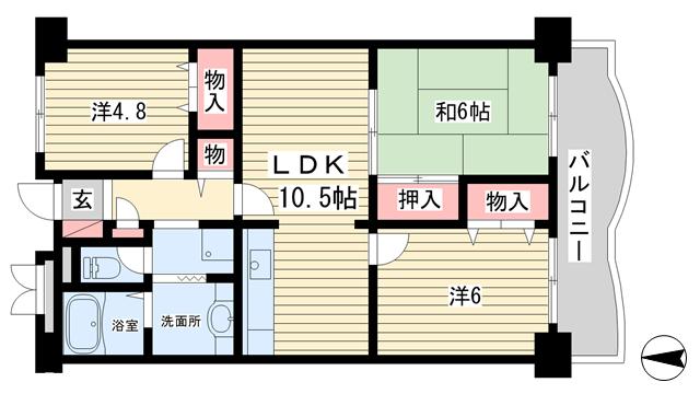物件番号: 1025864429 ハイムあじさい  神戸市中央区熊内橋通6丁目 3LDK マンション 間取り図