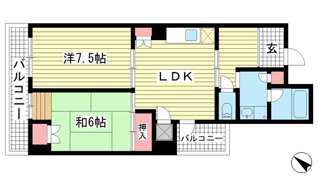 物件番号: 1025864475 アトリエYAYOI  神戸市中央区元町通5丁目 2LDK マンション 間取り図