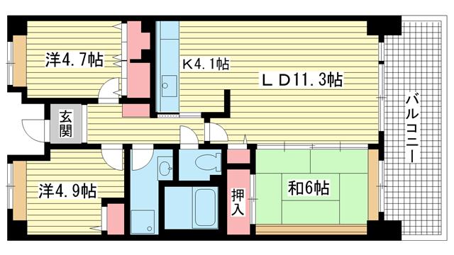 物件番号: 1025864487 ☆HAT神戸・脇の浜3番館(UR)  神戸市中央区脇浜海岸通3丁目 3LDK マンション 間取り図