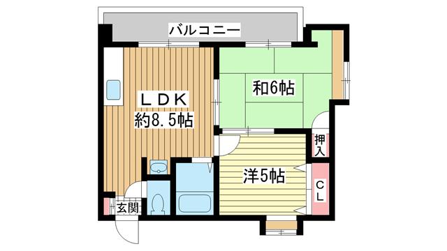 物件番号: 1025864502 サンビルダー新神戸  神戸市中央区熊内町9丁目 2LDK マンション 間取り図