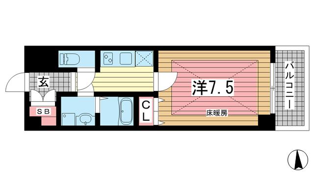 物件番号: 1025864659 SEA SIDE PALACE KOBE  神戸市中央区脇浜町3丁目 1K マンション 間取り図