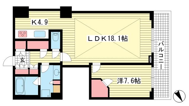 物件番号: 1025864673 アーバンライフ神戸三宮ザ・タワー  神戸市中央区加納町6丁目 1SLDK マンション 間取り図
