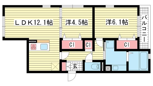 物件番号: 1025864722 パーチェ中山手Ⅱ  神戸市中央区中山手通4丁目 2LDK マンション 間取り図