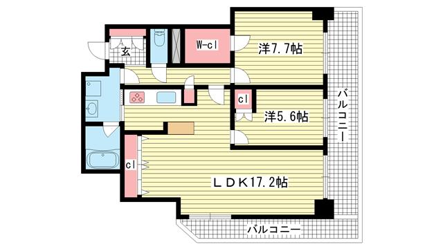 物件番号: 1025864786 ブリリアタワー神戸元町  神戸市中央区下山手通5丁目 2LDK マンション 間取り図