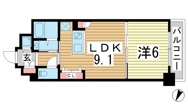 物件番号: 1025865235 グルーブ三宮Aria  神戸市中央区日暮通6丁目 1DK マンション 間取り図