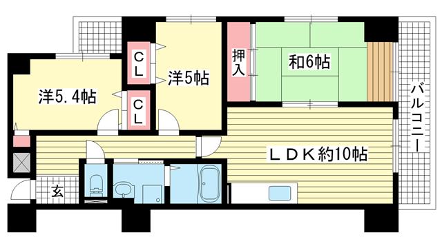 物件番号: 1025865250 フェニックス湊川  神戸市兵庫区水木通1丁目 3LDK マンション 間取り図
